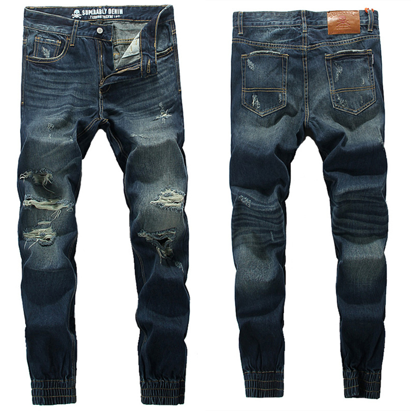 Hot Sale Slim Fit Moto Biker Jeans Men Original Famous Brand Ripped Jeans Denim Pants High Quality Mens Jogger Jeans 28-40 U393 classic mid stripe men s buttons jeans ripped slim fit denim pants male high quality vintage brand clothing moto jeans men rl617