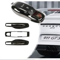 3pcs Jet Black Fob Remote Key Case Key Cover Modified Key Shell Replace Refit Porsche Boxster