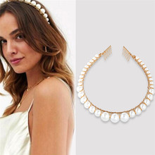 2019 New Trendy Handmade Imitation Pearl Hairbands For Women Gold Color Ball Bride Wedding