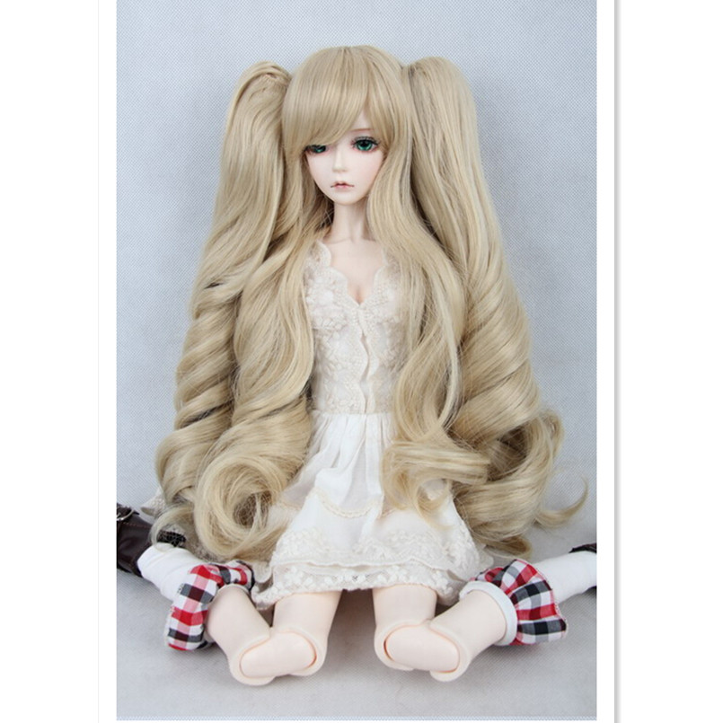 Attractive Design  1/4 BJD Doll Wig Accessories for Dolls,New Style High-temperature Blond Wigs Wire Wavy Hair Doll Hair free shipping amagi brilliant park latifah fururanza 100cm blond wavy cosplay wig spot high quality