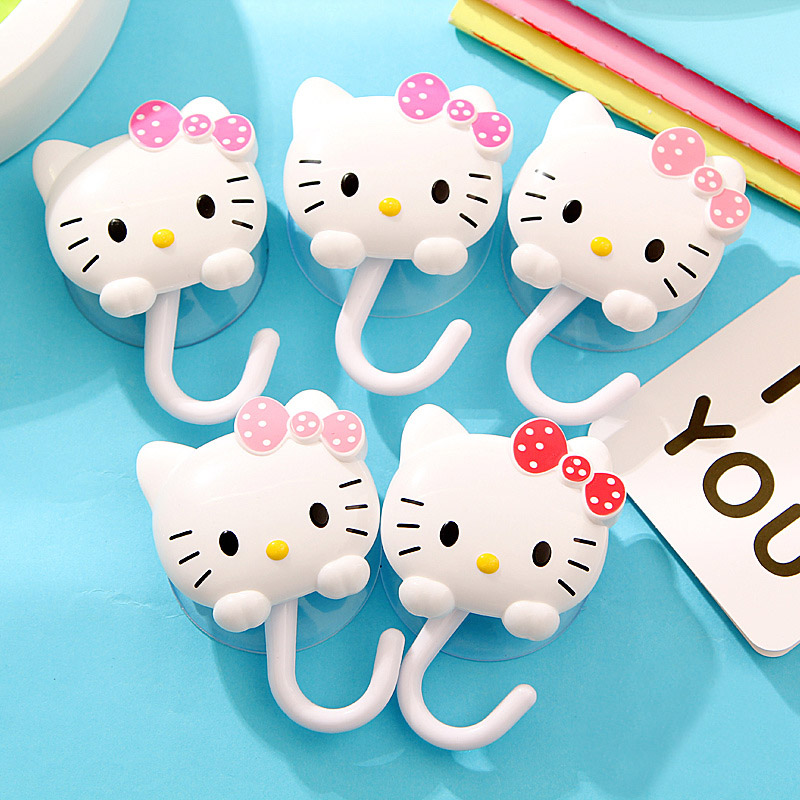 2pcs Cartoon Hello Kitty Wall Suction Kitchen Plastic Hooks Suckers Hanger Cup Suction Bathroom Vacuum Hooks Kitchen Tools