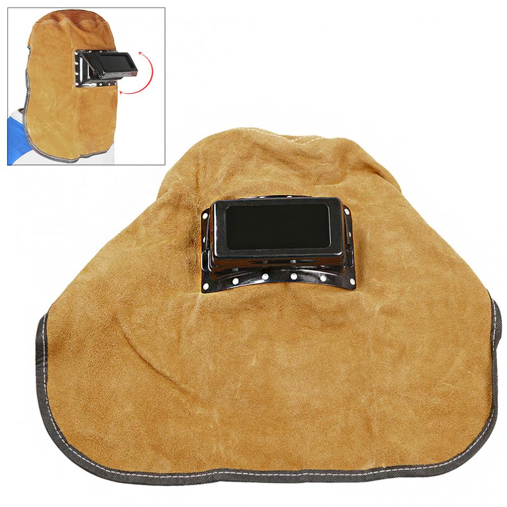 New Welding Tools Foldable Cow Leather Welding Helmet Welding Mask with Double Layer Goggles Visual Glass