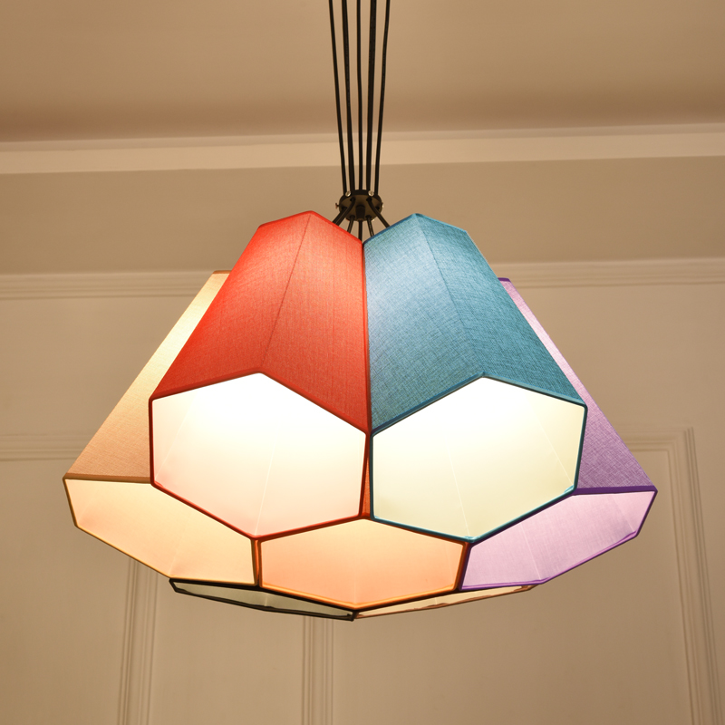 Nordic simple Mediterranean Japan DIY fabric hexagon  pendant light restaurant bedroom bar dining room hanging light lamp