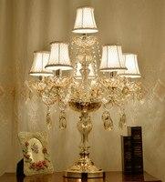 Ретро шампанское кристалл настольные лампы подсвечник для дома Спальня Свадебная вечерние светодио дный LED подсвечники Настольный светиль