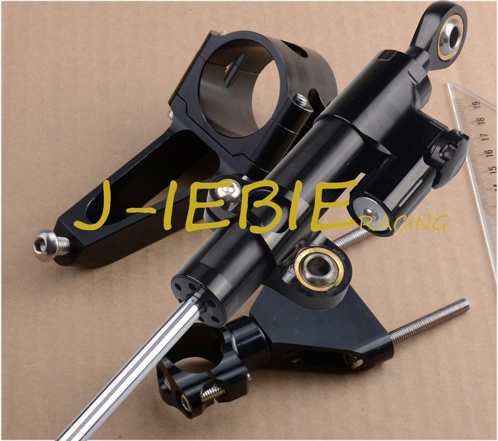 CNC Steering Damper Stabilizer and Black Bracket Mounting For Honda CBR600F CBR600 F4I 2001 2006 2002 2003 2004 2005-in Grips from Automobiles & Motorcycles    1
