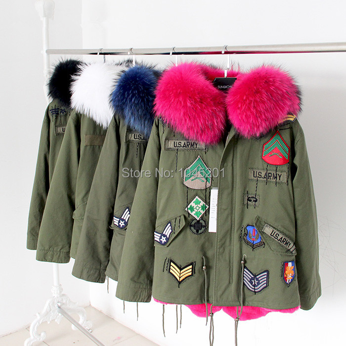 2015 new winter 4color leader of the large green wool coat with fox rabbit real fur coat winter jacket parka women Military coat