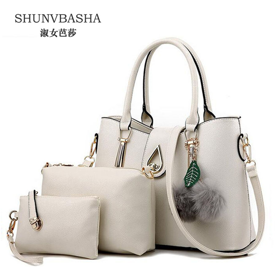 ФОТО Women Pu Leather Composite Bags Handbag+Messenger Bag+Purse 3Sets Ladies Noble Shoulder Bags Bolsos Feminina