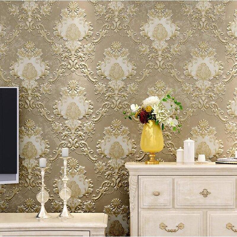 ФОТО Q QIHANG European Style 3D Embossed Environmental Non-woven TV Background Wall Living Room Wallpaper  0.53m*10m=5.3m2