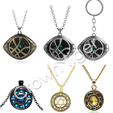 лучшая цена hot anime Marvel Avengers iron man arc reactor Doctor Strange captain Infinity Time Stones Necklace Keychain action Figure Toys