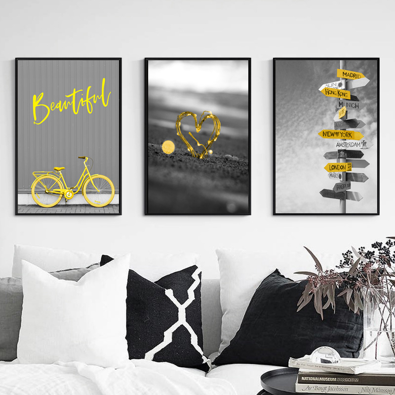 Nordic Poster Gray Canvas Painting Bicycle Canvas Prints Poster Yellow Heart-Shaped Posters And Prints Nordic Home Deco Unframed