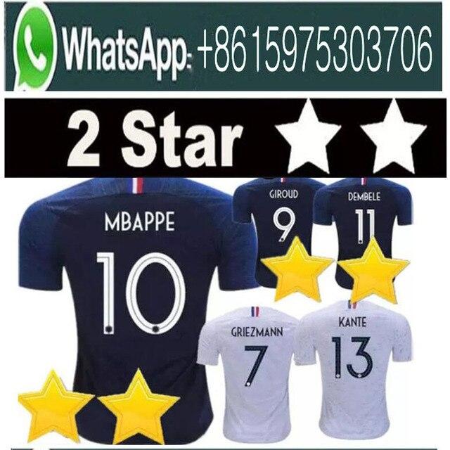 277b70bbde5 2 Stars France soccer jerseys GRIEZMANN MBAPPE POGBA 2018 world cup shirts  DEMBELE MARTIAL KANTE jerseys football GIROUD Maillot