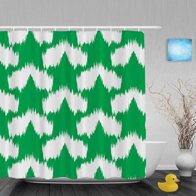 ikat ogief patroon interieur batnroom douchegordijn unieke ontwerp douchegordijnen waterdichte meeldauw polyester stof met haken