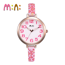 MINI Kids Watch Children Watch Fashion Cute Simple Girls Waterproof Leopard Leather clock