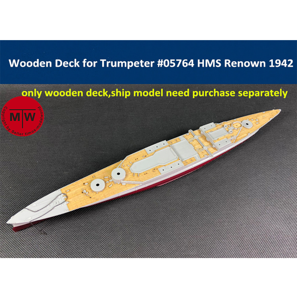 <font><b>1</b></font>/<font><b>700</b></font> <font><b>Scale</b></font> Wooden Deck for Trumpeter 05764 HMS Renown 1942 <font><b>Ship</b></font> <font><b>Model</b></font> Kit image