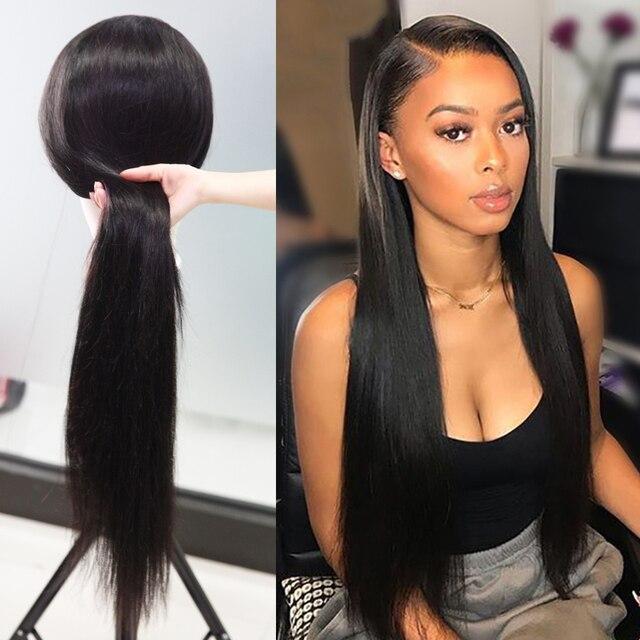 13*6 pelucas delanteras de encaje Pre arrancado con el pelo del bebé de cabello humano recto largo 250 densidad 300 Bob corto pelucas