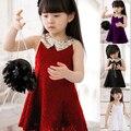 Новый 2015 лето 2-7 года без рукавов платье девушка моды платье партии бесплатная доставка 4 цвет