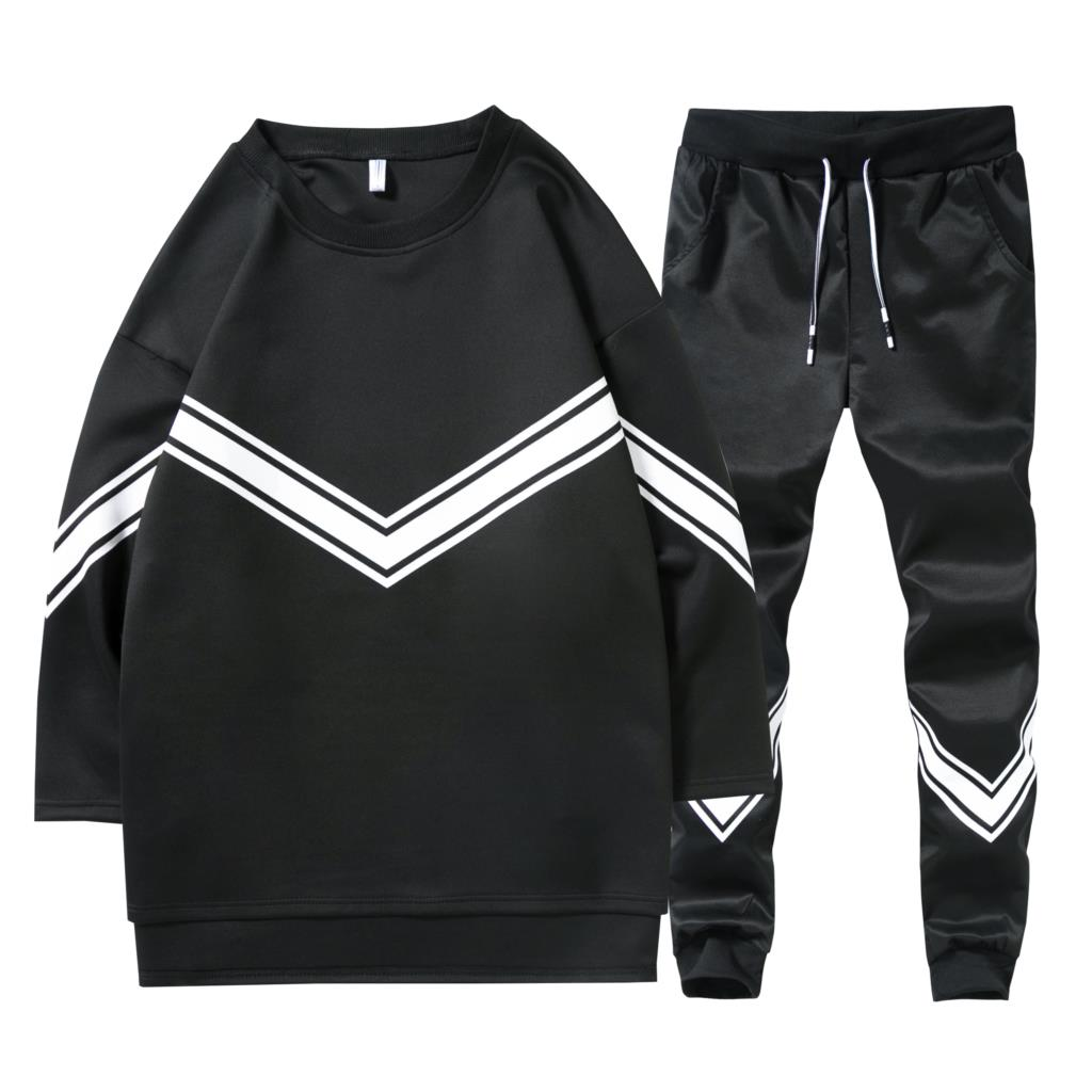 summer Autumn Tracksuit Casual O-neck Male Half sleeve 2 Pieces Tracksuit Set three quarter T-shirt sleeves mens sportswear