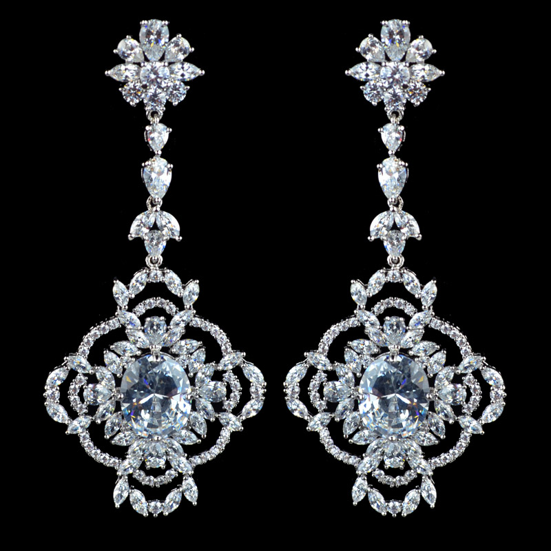 Sparkling luxury fashion zircon dangle earrings for women,new design high quality party/wedding jewelry earrings
