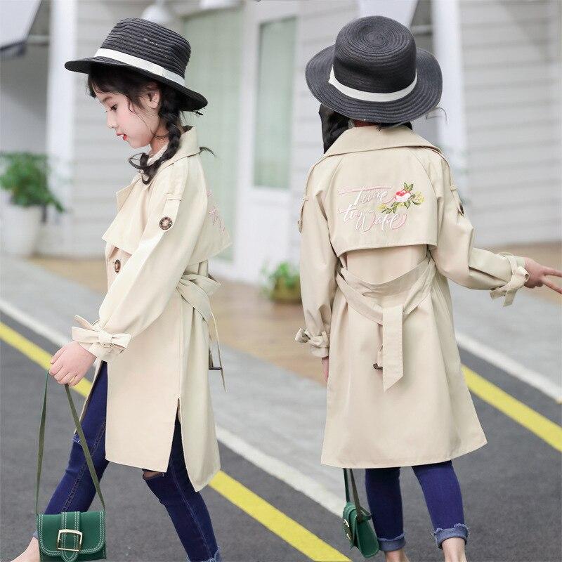 Trench   Coat Girls Autumn Clothes Windbreaker Jackets Long Sleeve Teenage Girl Fashion Long   Trench   Enfant 10 11 12 13 Girl Blazer