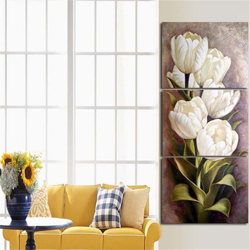 2017 3 Pièces Mur Peinture À L'huile Impression Sur Toile Blanc Fleurs Pour La Maison Décoration Art Photos Pour Salon Sans cadre