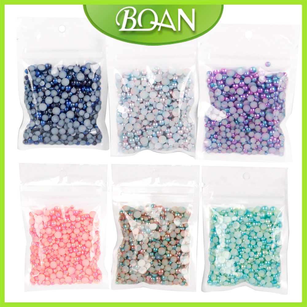 BQAN 6 color Tiny Circle Bead Bag Caviar Decoration Round 3D Nail Decoration Beads Mermaid Colors for French Acrylic UV Gel qt beauty 1 bag gold silver glass 3d nail art decoration gel nail polish nails accessories mini round balls caviar beads