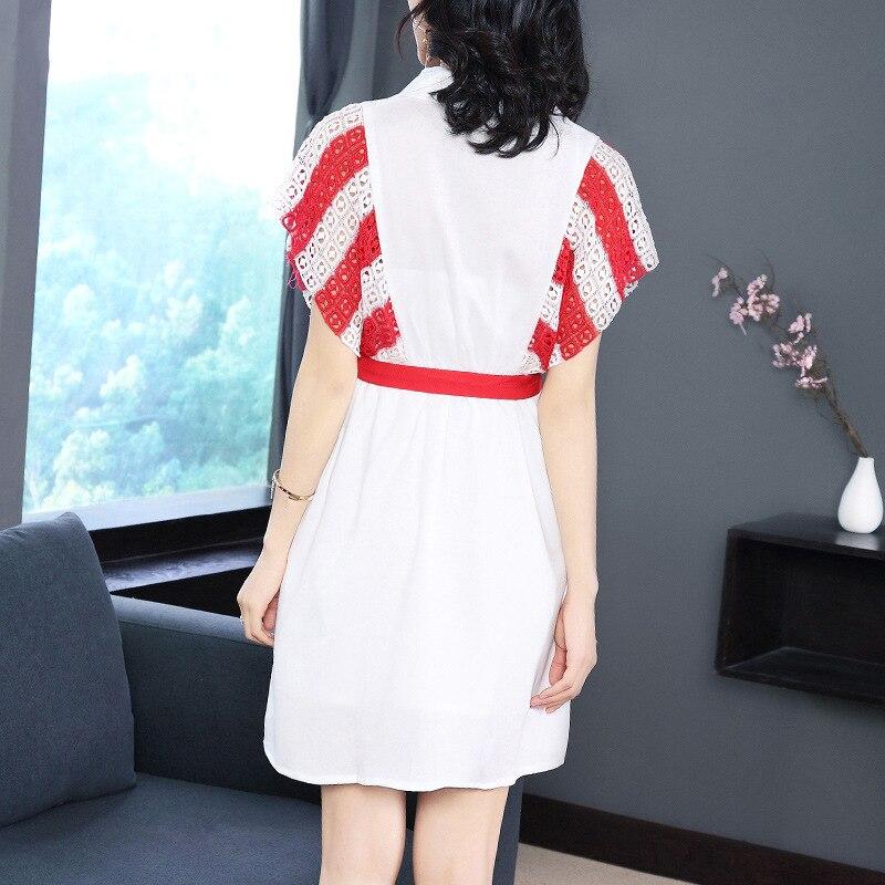 Bleu Qualité Lâche 2018 uni Robe Rouge marine Mince Nouveau De Aliexpress Manches Costumes La Royaume Mode Apporté Avec Été Haute Épissage Courtes 1wPqxZg