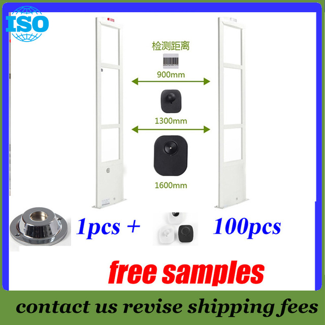 EAS 8.2Mhz eas system with free solution rf antenna anti shoplifting system 2 door+100 security tag and 1 magnetic detacher