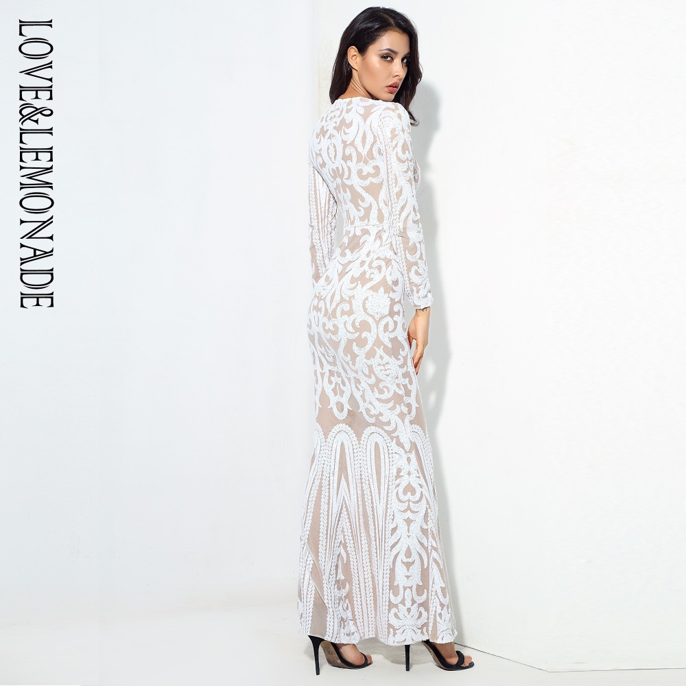 Love&Lemonade  Sexy Self-Cultivation White Geometric Graphics Sequins Maxi Dress LM0591 Autumn/Winter
