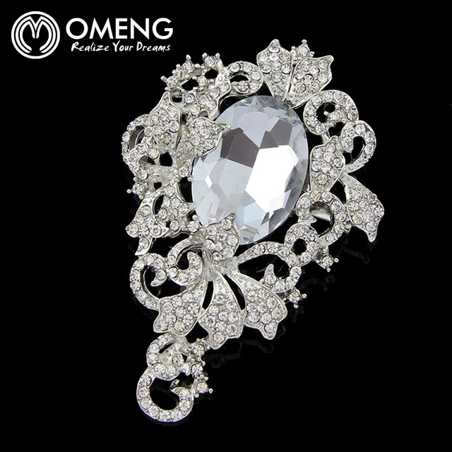 OMENG 2Colors Classic Brooches Rhinestone Brooch Corsage Upscale  Brooches Pin  For Women OXZ037