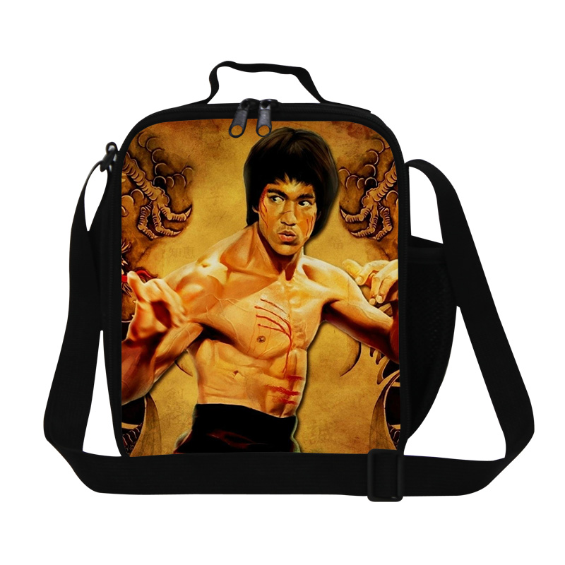 Dispalang cool Bruce Lee printing lunch cooler bags for teen boys men's lunch bag with zippers picnic food bags wholesale retail