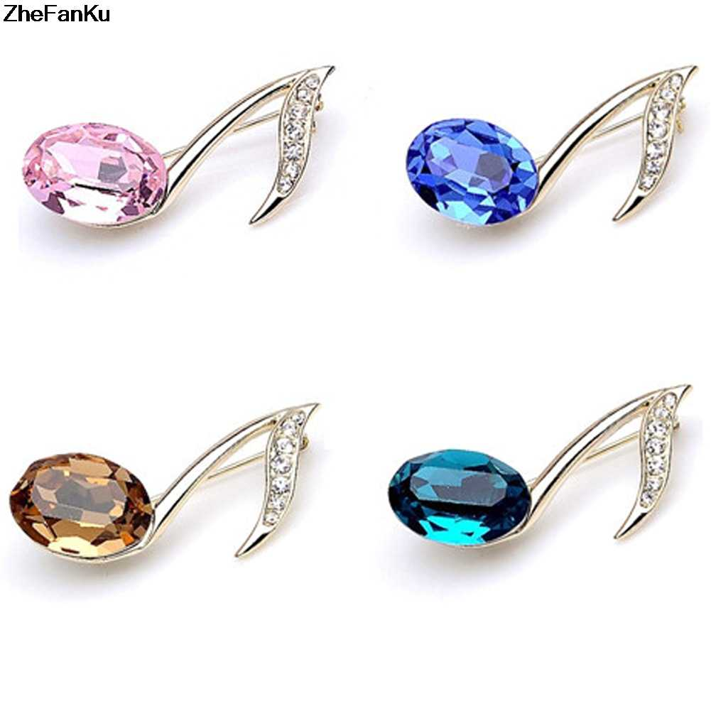 Fashion Multicolor Setting Musical Note Brooches Nicro Gold-color Brooches Pins Elegent Lady