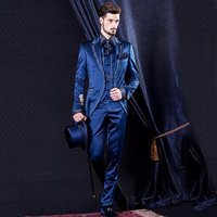 2018 navy blue men suit for stage party satin peaked lapel long tailcoat classic jacket slim fit elegant custom blazer 3 pieces