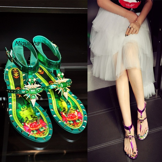4c502a1043299f New Arrival Pope Style Rainbow Rivets Flat With Shoes Fashion T-strap  Buckle Clip Toe