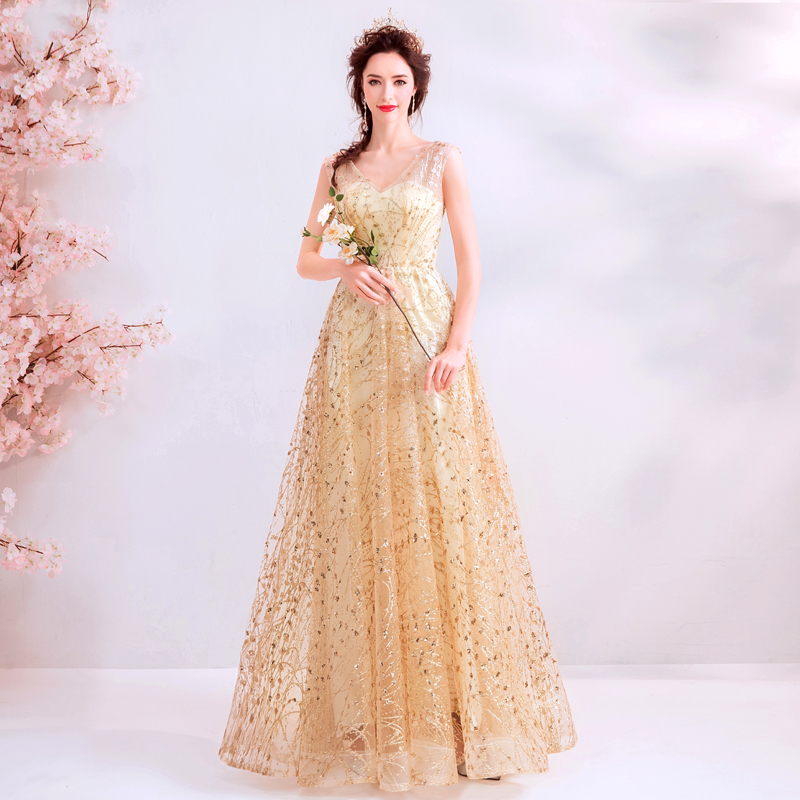 Glaring princess champagne gold Evening Dress long  lace up prom gown robe de mariee  graduation dress A line dress for wedding