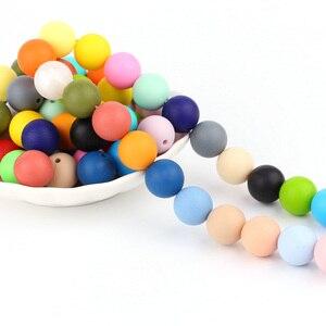 Image 3 - * 500 adet bebek silikon boncuk BPA ücretsiz 15mm yuvarlak boncuk bebek diş çıkartma oyuncakları DIY emzik zinciri araçları çiğneme bebek dişlikleri