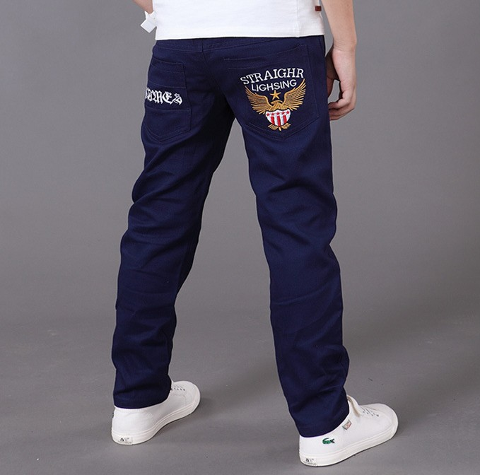 2018 New children big baby boy denim jeans teens embroidery trousers kids school boy casual cotton letter pants 3-12Y clothes 2017 new designer korea men s jeans slim fit classic denim jeans pants straight trousers leg blue big size 30 34