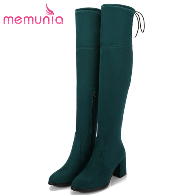 MEMUNIA Hot sale low price over the knee boots female fashion elegant high heels shoes woman boots elasticity big size 34-45 memunia big size 34 43 over the knee boots for women fashion shoes woman party pu platform boots zip high heels boots female