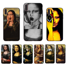 IMIDO Funny Art Mona Lisa design Soft Transparent fitted phone case For iPhone6 7 8 XR XS X XSmax 7/8/6s/6plus 5 5S SE TPU Shell