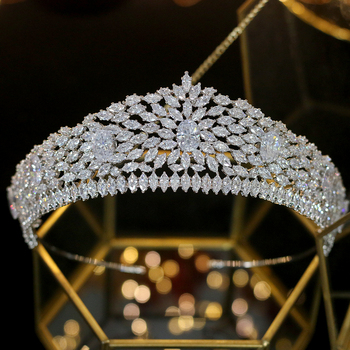 ASNORA High quality large zircon crystal headdress bride wedding hair accessories ladies crown dinner dress accessories
