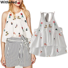 Withered 2017women tops summer and spring blouse vintage floral embroidery pure cotton camis casual t-shirt plus size for women