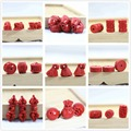 Женская мода синтетический красный киноварь резьба цветок кулон diy ювелирных аксессуаров бусы 10 шт. B941