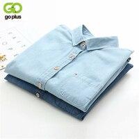 GOPLUS 2017 Denim Shirt Women Blouses Blue Long Sleeves School Shirts Jeans Turn Down Collar Blusas