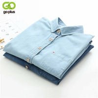 GOPLUS 2017 Denim Shirt Women Blouses Blue Long Sleeves School Shirts Jeans Turn Down Collar Blusas