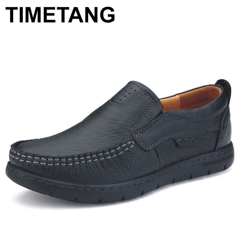 TIMETANG Full Grain Genuine Leather Women Casual Shoes %100 Brand Quality Soft The Sole Slip On Ladies Mother Flats Shoes C305 branded men s penny loafes casual men s full grain leather emboss crocodile boat shoes slip on breathable moccasin driving shoes