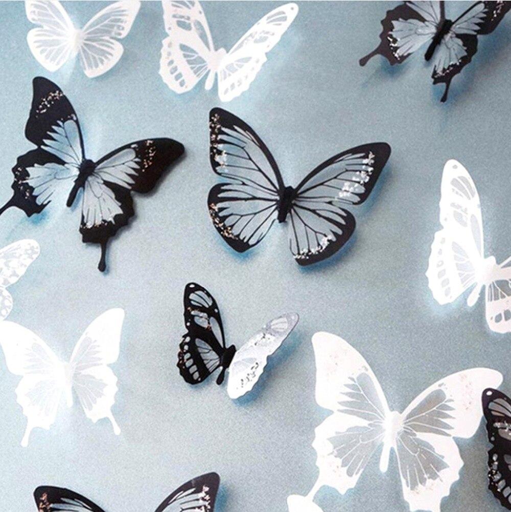 18 Teile/los 3d Wirkung Kristall Schmetterlinge Wand Aufkleber Schöne Schmetterling Für Kinder Zimmer Wand Aufkleber Dekoration Auf Die Wand
