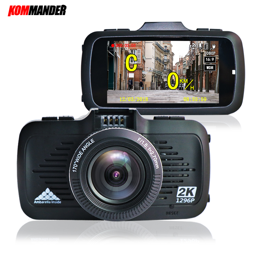 Kommander Car DVR with GPS 2 in 1 Ambarella A7 and Speedcam Full HD 1296p Car Recorders Night Vision in Low Light for Russian 2 in 1 russian