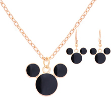 Hottest 2 Pcs Mickey Mouse Gold Plated Personalized Necklace and Earrings Set Party Women Anniversary Jewelry Set Accessories
