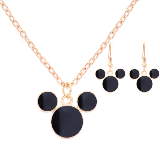 Hottest 2 Pcs Mickey Mouse Gold-color Personalized Necklace and Earrings Set Par