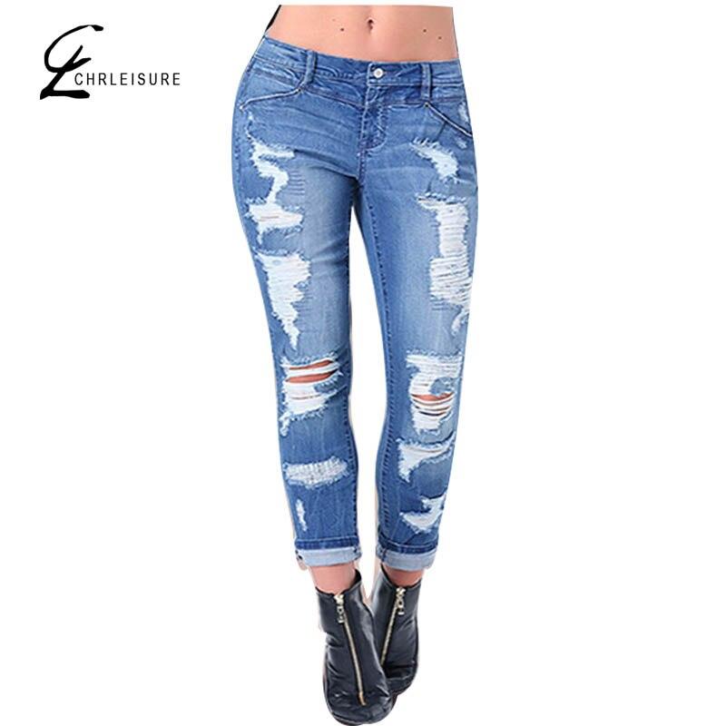 ФОТО CHRLEISURE S-XXXL Plus Size Ripped Jeans for Women Push Up Boyfriend Denim Jeans Blue Skinny Pencil Jeans Womens