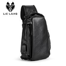 LIELANG Leather Chest Bag Man USB Charge Black Crossbody Bags Messengers Short Trip Chest Pack Waterproof Sing Shoulder Bags